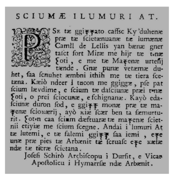 Faksimile të teksteve shqip e latinisht të Zef Skiroit
