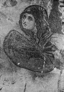 Fig. 1 - Një nga gratë mirëprurëse, detal nga skema «Mos më prek» punë e David Selenicasit, në Shënkoll të Voskopojës.