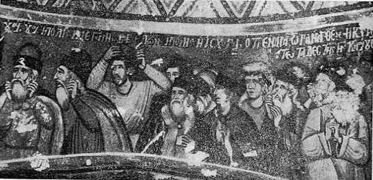 Fig. 7. - Tregëtarët, detal nga skena «djegja e Babilonës», punë e Kostandin e Athanas Zografit në Shënthanas të Voskopojës.